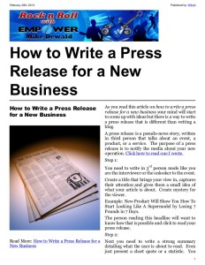 New Business Press Release